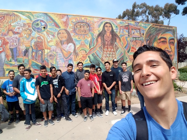 Giving a tour to STEM middle school students at UCSD for the Institute of the Americas